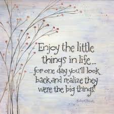 """""""Enjoy the little things in life for one day you will look back and realize they were the big things"""" - Robert Brault"""