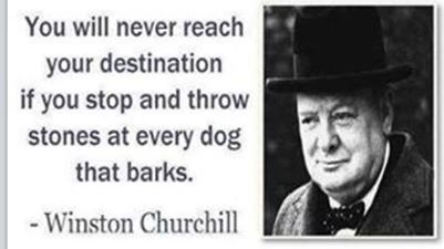 You will never reach your destination if you stop and throw stones at every dog that barks - Winston Churchill